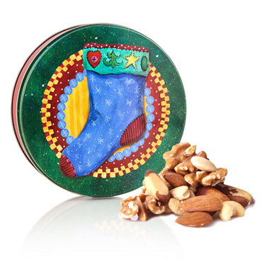 Roasted Mix Nuts-Christmas Tin 2 lb. XXX